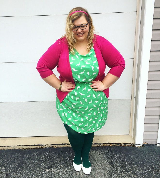 3520a525a Photo: Modcloth MAK Cardigan, Modcloth Dinosaur Dress, WeLoveColors green  tights, Avenue shoes. – Adding a cardigan & some fun colored solids to a  print!